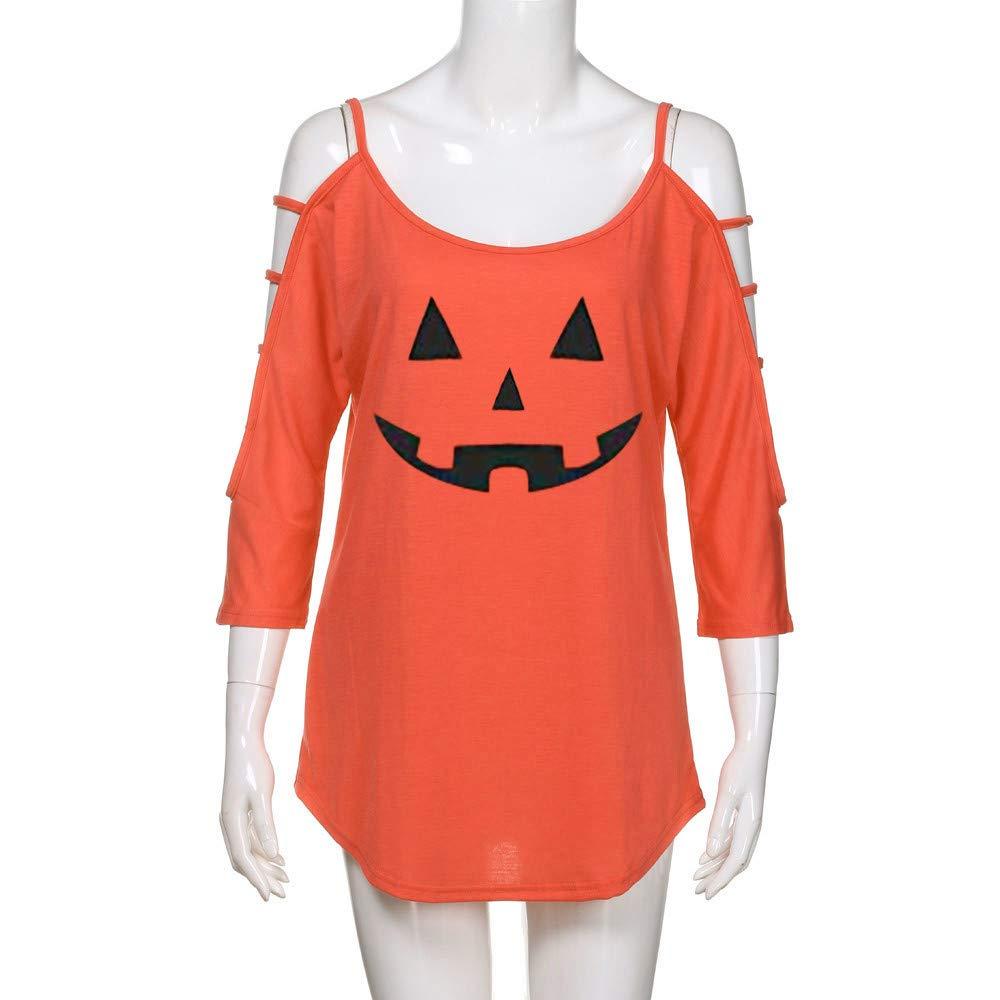 Luckycat Las Mujeres Ocasionales Sueltas Hombro Ahuecado Camiseta sólida de Halloween Blusa Tops: Amazon.es: Ropa y accesorios