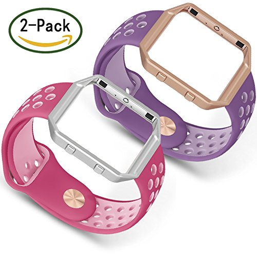 For Fitbit Blaze Bands, SKYLET 2 Pack Breathable Replacement Bands for Fitbit Blaze Silicone Bracelet (No Tracker)[2PC:Rose-Pink&Plum-Violet+2 - Violet Frame