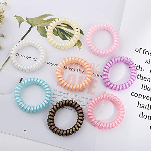 6 Mini Spiral Coil No Tangle Telephone Cord Plastic Elastics Hair choice