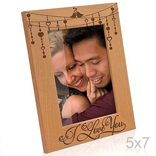 Kate Posh I Love You, Love Birds Engraved Natural Wood Picture Frame, Anniversary, Weddings, Valentine's Day, Couples in Love Gifts, Husband & Wife, Boyfriend & Girlfriend (5x7-Vertical) (Bird Couple)