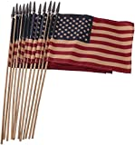 Set of 12 Bulk Primitive American Flags: 8.75 x 5 Small Tea Stained American Flags on Wooden Sticks from Primitives by Kathy For Sale
