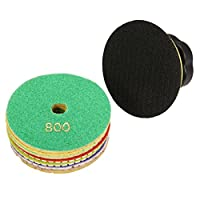INSMA 4 inch Diamond Polishing Pads 8 piece Wet and Dry Polishing Set (Backer + 7 Hook and Loop Pads), 50 to 3000 Grit for Concrete Marble Granite Floor Renew