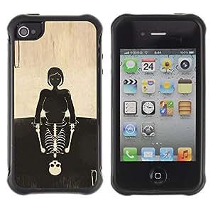Be-Star único patrón Impacto Shock - Absorción y Anti-Arañazos Funda Carcasa Case Bumper Para Apple iPhone 4 / iPhone 4S ( Skull Girl Reflection Deep Meaning )