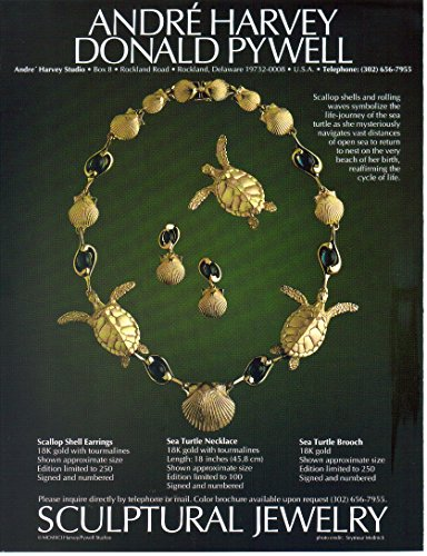 COLLECTIBLE ADVERTISING Print Ad: 1991 André Harvey, Donald Pywell, Scallop Shell Earings, Sea Turtle Necklace Brooch, Sculptural Jewelry (NOT AN OFFER FOR JEWELRY)
