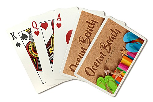 Ocean Beach, New Jersey - Flip Flops (Playing Card Deck - 52 Card Poker Size with Jokers)