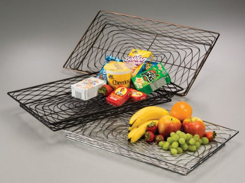 American Metalcraft BNBB13202 Rectangular Birdnest Wire Basket, Black