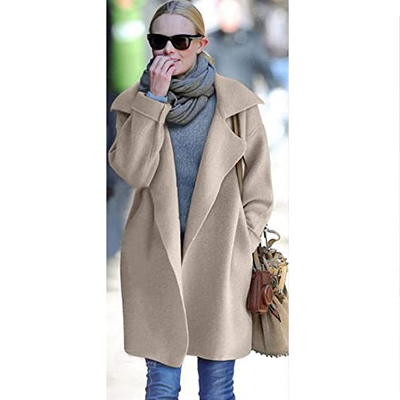 Amazon.com: JOFOW Womens Lapel Collar Cardigans Solid Woolen Jacket Long Loose Button Chic Elegant Soft Warm Winter Coat (Freesize,Beige): Clothing