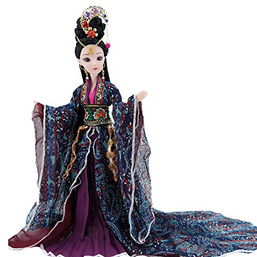 Udecoroption Oriental Decor, Tabletop Decorative Doll with Exquisite Hairstyle and Doll Clothes Outfits Chinese Dressed Up Figurine for Home Decor