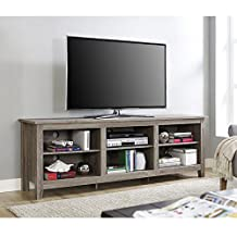 "Walker Edison Furniture 70"" Wood Media TV Stand Storage Console, Driftwood"