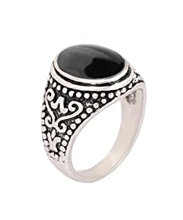 YAZILIND Simple Black Gemstone Ring Exquisite Jewelry Unisex Statement Rings Birthday Gift Black-2(Size 8)