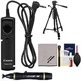 Canon RS-60E3 Remote Switch Shutter Release Cord + Tripod + Accessory Kit for EOS 70D, 77D, Rebel T5, T5i, T6, T6i, T6s, T7i, SL1, SL2 Camera