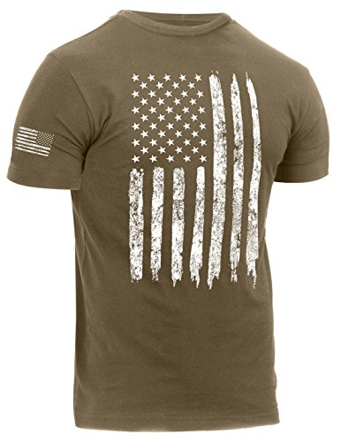 Rothco Distressed US Flag Athletic Fit T-Shirt, Coyote Brown, XL