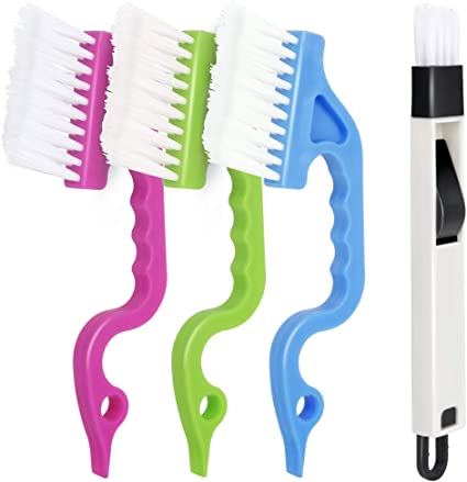 Window Blind Duster 2PCS Blue and Green Color Hand-held Groove Gap 2-in-1 Windowsill Sweeper MAZECO Window or Sliding Door Track Cleaning Brush Total 6PCS