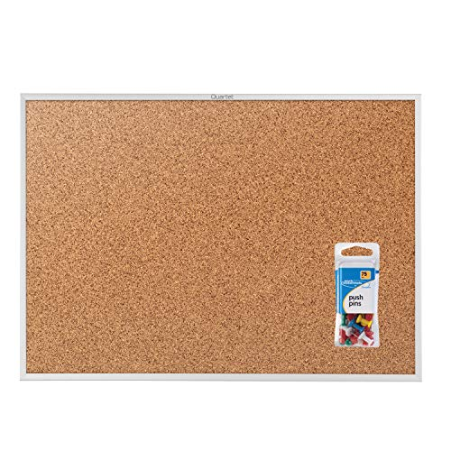 (Quartet Cork Board, Bulletin Board Value Pack, 6' x 4', Corkboard, Aluminum Frame, includes 75 Push Pins (2307VP))