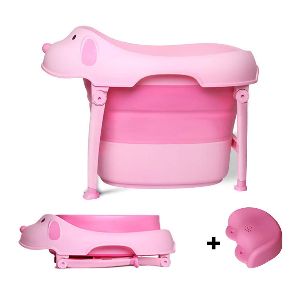 Children Safe Portable Foldable Bathtub, 29x21inch - Baby Bath Tub Kids Bath Tub Can Sit Lying Bath Tub for 6 Months to 10 Years Old Children (Pink) by Finebaby (Image #2)
