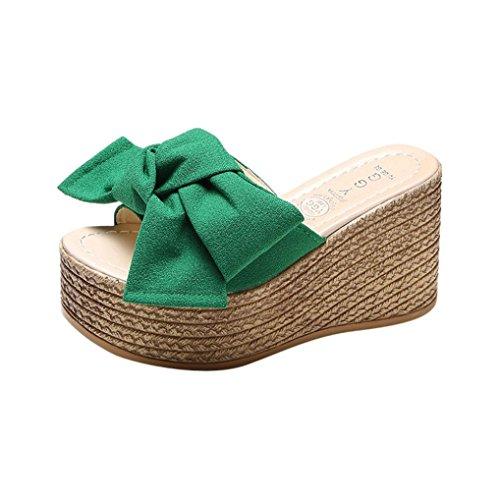 hunpta Women Fashion Solid Thick Bottom Wedges Sandals Slipper Flatform Shoes Green