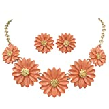 Gypsy Jewels Daisy Flower Cluster Boutique Statement Necklace & Earrings Set (Coral Orange Painted Gold Tone)