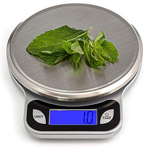 SALUBRE++ Digital Food Scale with Stainless Steel Weighing Platform. Digital Kitchen Scale weighs in Pounds, Ounces, or Grams to 13 lb (5.89 kg) with 1/2 gm Increments. Batteries Included. (Best Kitchen Scales Uk)