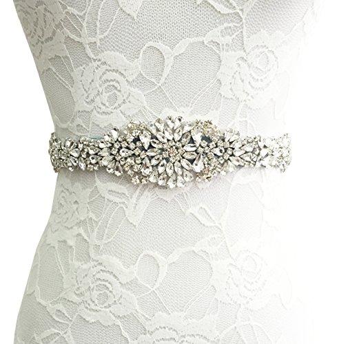BABEYOND Bridal Sash Belt with Rhinestones Ribbon Sashes for Wedding Dresses Crystal Belt Applique for Wedding Party Prom Evening Dresses (Rhinestone Accessories For Dresses)