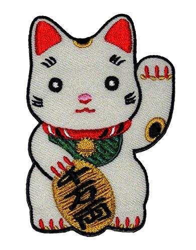 3 Pcs Cute Maneki-neko Japan Japanese Lucky Cat DIY Embroidered Sew Iron on Patch - By Thai Vintage