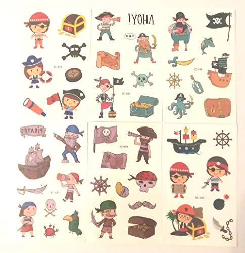 48 Tattoos (6 Sheets) Pirate Temporary Tattoo Fake Neverland Pirated Cannon Powder Jake Captain Tattoo Body Sticker for Pirate Birthday Party Favors Supplies Kids Boys Girls Party Bag Filler, setion A