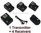 Wireless Radio Remote Flash Trigger 1 Transmitter + 4 Receivers for Canon EOS 450D, 1000D, 550D, 400D, 500D, 350D, Xsi, T1i, T2i, Xti, XS, XT, 50D, 40D, 10D, 20D, 7D, 5D Mark II, 1D Mark II, III, IV, 1Ds