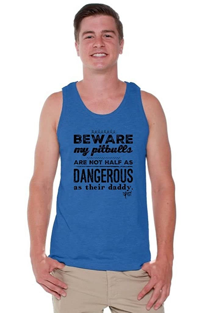 Bookmark Beware My Pitbulls are Not Half As Dangerous As Their Daddy Tank Top