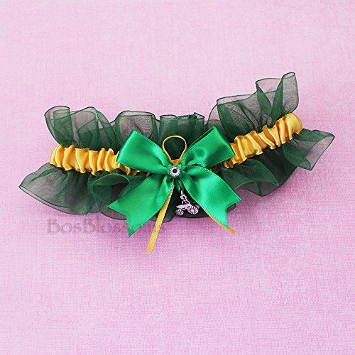 Custom fit handmade - 3D Tractor charms - Green & Yellow - satin & organza keepsake garter by BOYX Designs