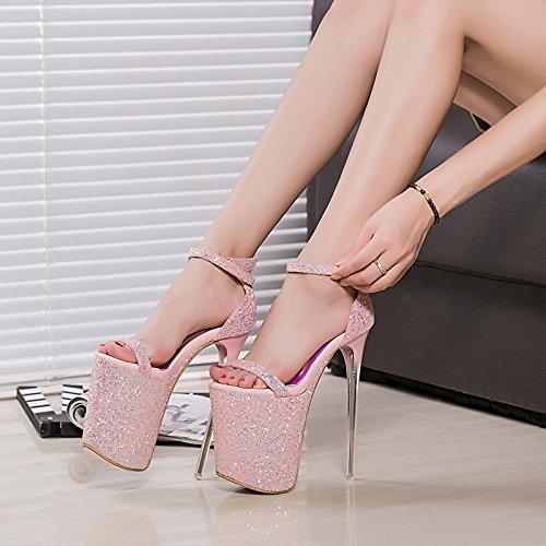 high cd heels sandalen kristall schuhe 20cm schuh auftritt pink RnxpqEwOI