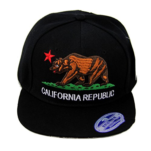 California Republic Hat Classic Bear Logo Flat Bill Visor (Black/Black Brim) (Logo Bear Cap Fashion)