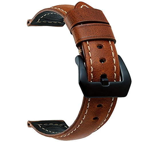 EACHE 22mm Oil-tanned Genuine Leather Replacement Watch Band Wrist Straps Tan