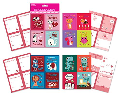 B-THERE School Valentine Day Sticker Cards - Pack of 64 Cards. Fun & Cute Designs Featuring Foil & Sentiments, Kids Valentines Cards -