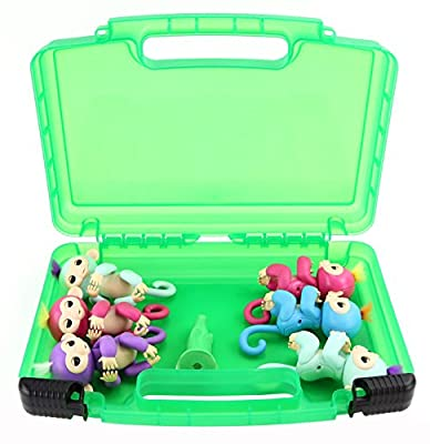 Fingerlings Monkeys Carrying Case- Stores 6 Interactive Baby Monkeys- Durable Toy Storage Organizers By Life Made Better- Green from Life Made Better