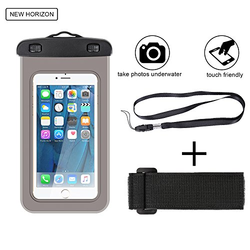 """IPX8 Universal Waterproof Case, HAISSKY Mobile Phone Dry Bag Pouch for iPhone X / 8Plus / 7Plus / 6Plus / 7 / 6S / 6, Galaxy S8 S7 S6 Edge, Note 5 4, LG HUAWEI HTC ZTE Sony Nokia Up to 6"""" Diagonal"""