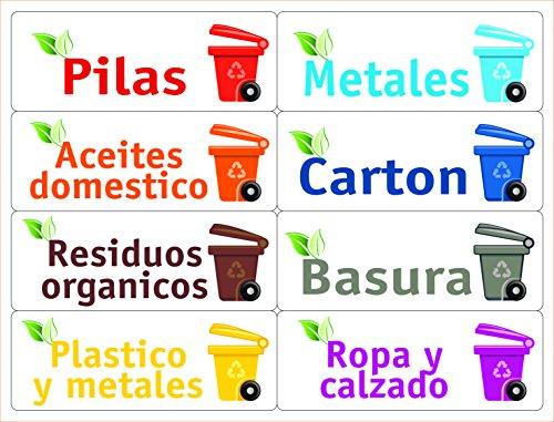 ATK 16 Etiquetas para la gestión de los residuos - Kit Bin - 120 x 45 mm: Amazon.es: Hogar