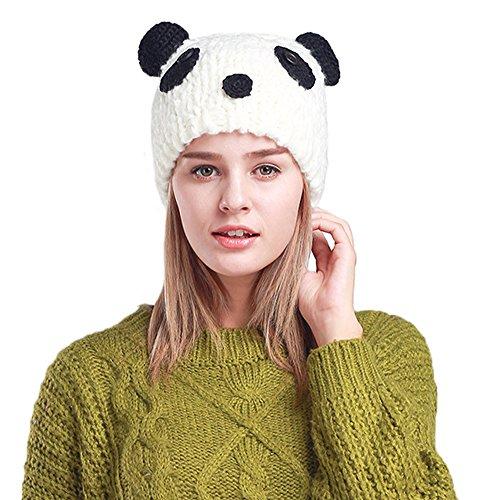 Myosotis510 Cute Parent-child Knitted Cat Bear Ear Cap Beanie Black (Adult, Panda)