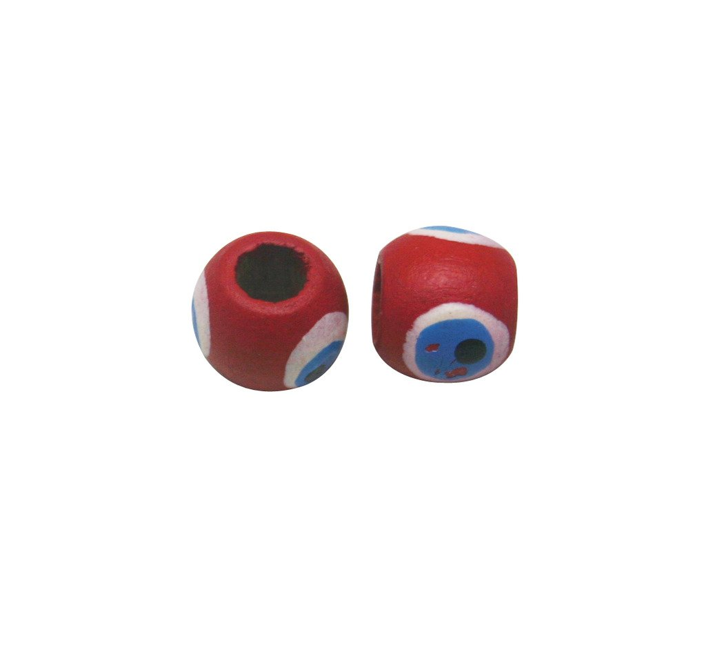 Amanteao 11mmX12.5mm Red White Blue Wood Beads Pack of 40