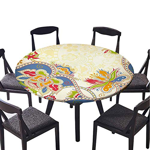 SATVSHOP Decorative Print Polyester Round Tablecloth-45 Round-Waterproof Fabric,Ethnic Asian Floral Traditional Pattern with Swirls Petals Oriental Artistic Dign .(Elastic Edge)