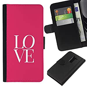 KLONGSHOP // Tirón de la caja Cartera de cuero con ranuras para tarjetas - Texto letras rosadas minimalistas de San Valentín - LG G2 D800 //