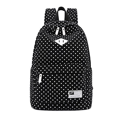 Oppas Lightweight Casual Style Canvas Polka Dot Backpack for Teens School Bag fits 14inch Loptop