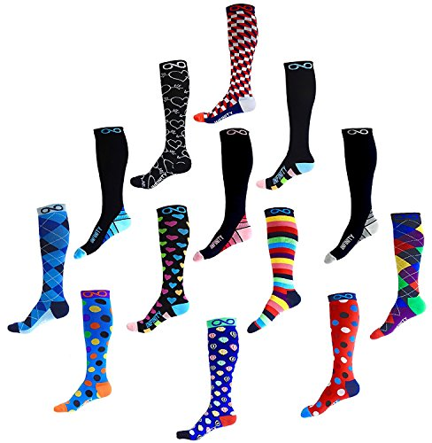Compression Socks (1 pair) for Men & Women - BEST for Running, Nurses, Shin Splints, Flight Travel, & Maternity Pregnancy - Boost Athletic Stamina, Circulation & Recovery (i-Stripes, Large/X-Large)