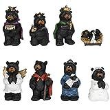 8 Piece Black Bear Figurines Resin Nativity Set