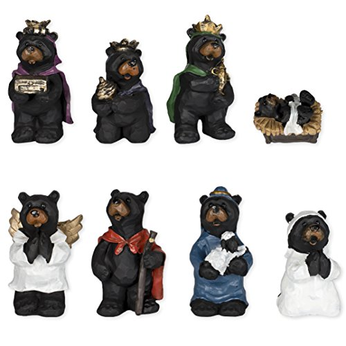 8 Piece Black Bear Figurines Resin Nativity Set