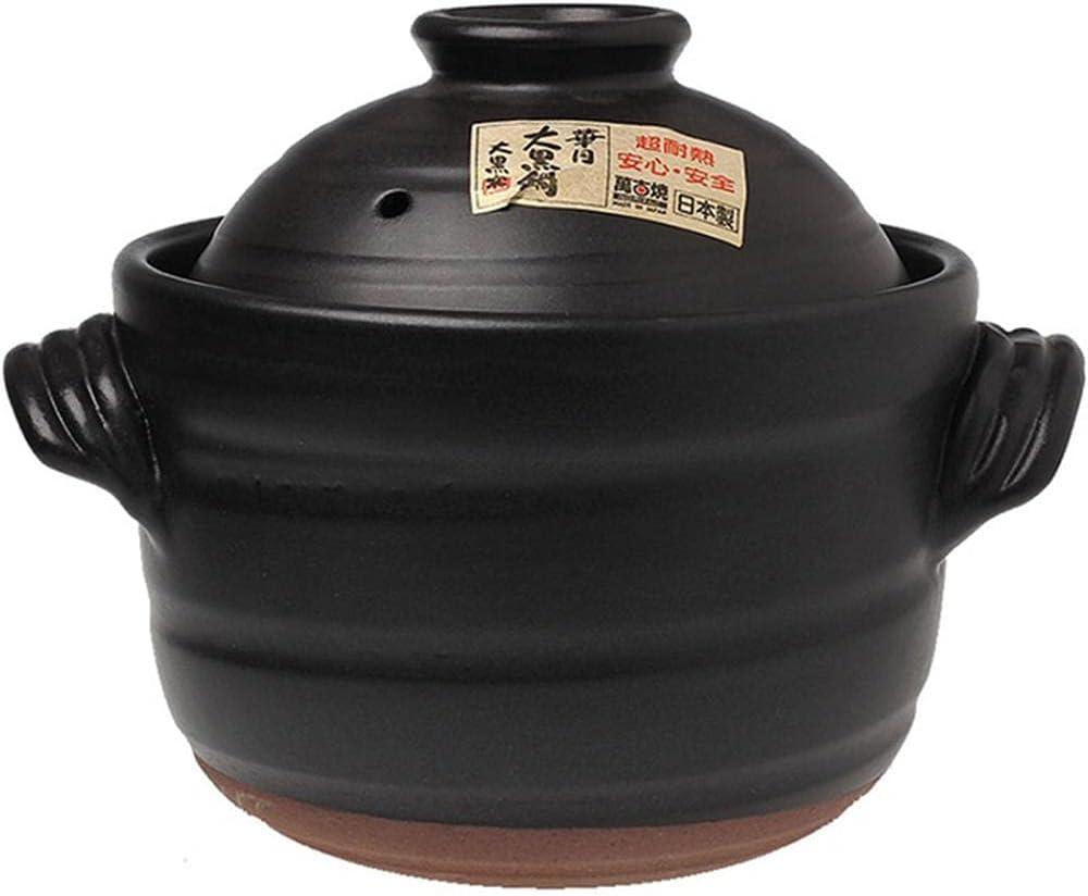 Earthenware Clay Pot Earthenware Casserole Pot Household Ceramic Large Black Double Lid Pot Black-2.3L
