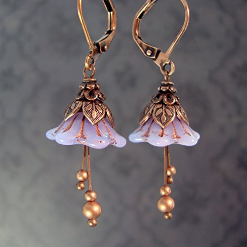 Lavender Fairy Flower Leverback Earrings with Czech Glass and Copper Costume Jewelry