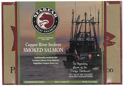 Pack of 3: SeaBear Copper River Smoked Sockeye Salmon, 6 Ounce Units (Fish Smoked Salmon)