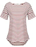 POGTMM Summer Oversized Tops for Women Striped (Red White, US XXL(20-22))