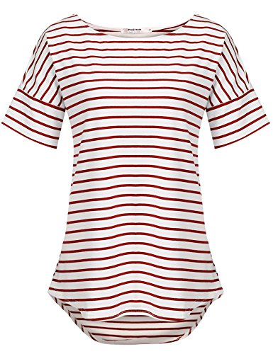 POGTMM Short Sleeve Striped T Shirt Tunic Tops for Leggings for Women (Red White, US L(12-14))