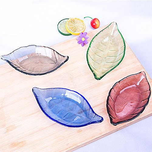 ZJKC Leaf-Shaped Glass Dishes, Pair, Great for Candy, Nuts, Small Tidbits Cute Multi-Color Small Snack / Nut / Trinket bowls Colors At Random