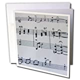 3dRose Music Notes - Greeting Cards, 6 x 6 inches, set of 12 (gc_14530_2)